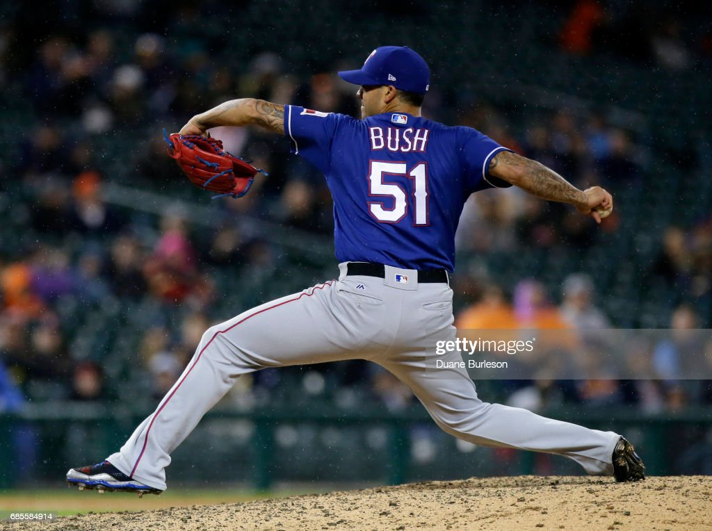 Matt Bush #51 of the Texas Rangers pitches against the Detroit Tigers during the ninth inning at Comerica Park on May 19, 2017 in Detroit, Michigan. Bush collected his fifth save in the Rangers 5-3 win.