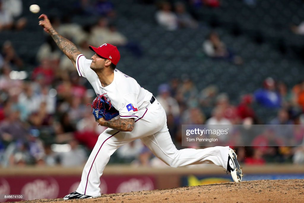Matt Bush #51 of the Texas Rangers pitches against the Seattle Mariners in the top of the seventh inning at Globe Life Park in Arlington on September 13, 2017 in Arlington, Texas.
