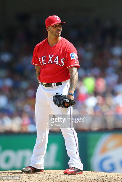 Matt Bush of the Texas Rangers throws in the fifth inning against the Pittsburgh Pirates at Globe Life Park in Arlington on May 29 2016 in Arlington...