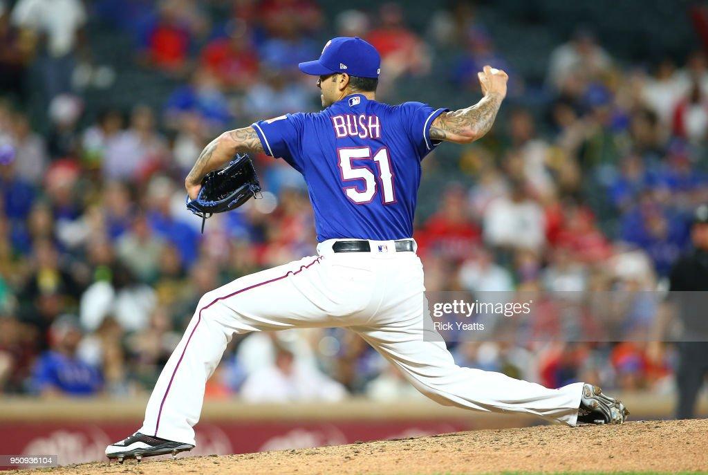 Matt Bush #51 of the Texas Rangers throws in the seventh inning against the Oakland Athletics at Globe Life Park in Arlington on April 24, 2018 in Arlington, Texas.