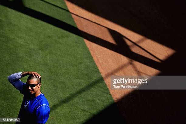 Matt Bush of the Texas Rangers works out during batting practice before the Texas Rangers take on the Toronto Blue Jays at Globe Life Park in...