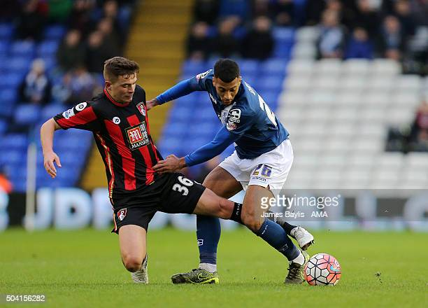 Matt Butcher of Bournemouth and David Davis of Birmingham City battle for the ball during The Emirates FA Cup match between Birmingham City and AFC...