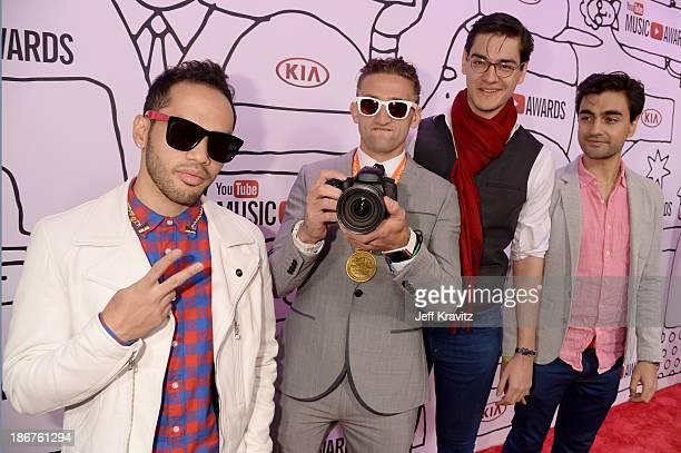 Matt Cab Casey Neistat Antonius Nazareth and Vijay Nazareth attend the 2013 YouTube Music awards at Pier 36 on November 3 2013 in New York City