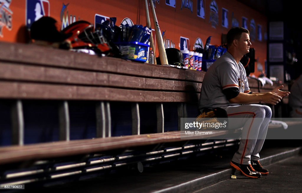Matt Cain #18 of the San Francisco Giants looks on during a game against the Miami Marlins at Marlins Park on August 16, 2017 in Miami, Florida.