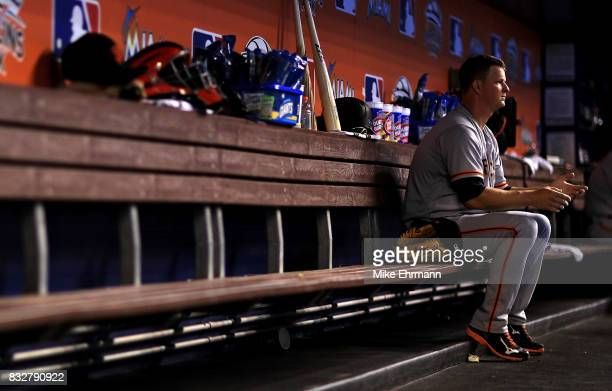 Matt Cain of the San Francisco Giants looks on during a game against the Miami Marlins at Marlins Park on August 16 2017 in Miami Florida