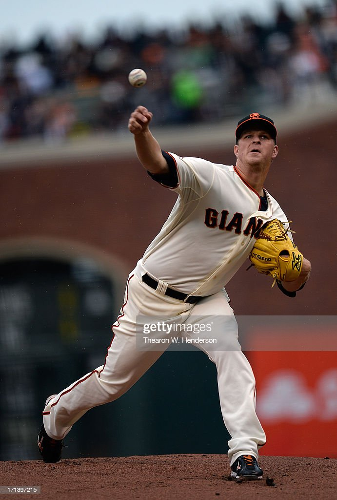 Matt Cain #18 of the San Francisco Giants pitches against the Miami Marlins at AT&T Park on June 23, 2013 in San Francisco, California.