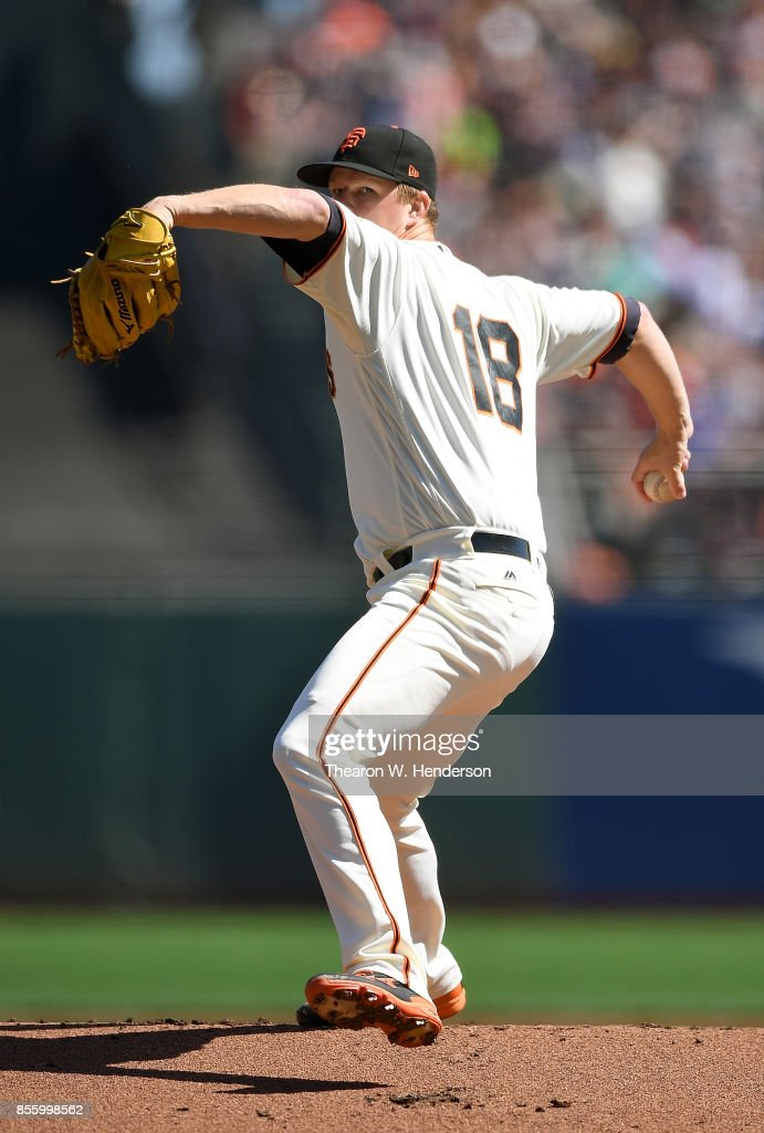 Matt Cain #18 of the San Francisco Giants pitches against the San Diego Padres in the top of the first inning at AT&T Park on September 30, 2017 in San Francisco, California.