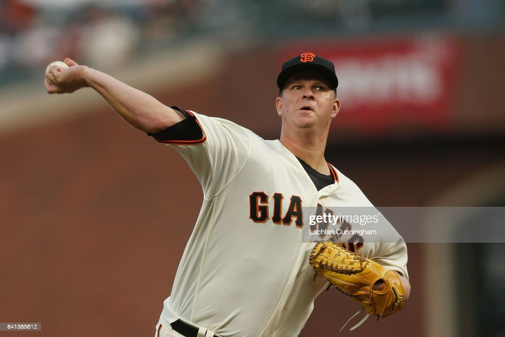 Matt Cain #18 of the San Francisco Giants pitches in the first inning against the St Louis Cardinals at AT&T Park on August 31, 2017 in San Francisco, California.