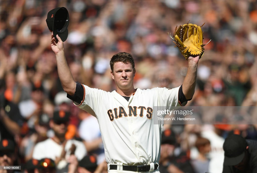 Matt Cain #18 of the San Francisco Giants waves to the fans showing gratitude leaving the game after the top of the fourth inning against the San Diego Padres at AT&T Park on September 30, 2017 in San Francisco, California. This was Cains last pitching performance as he is retiring at the end of the season.