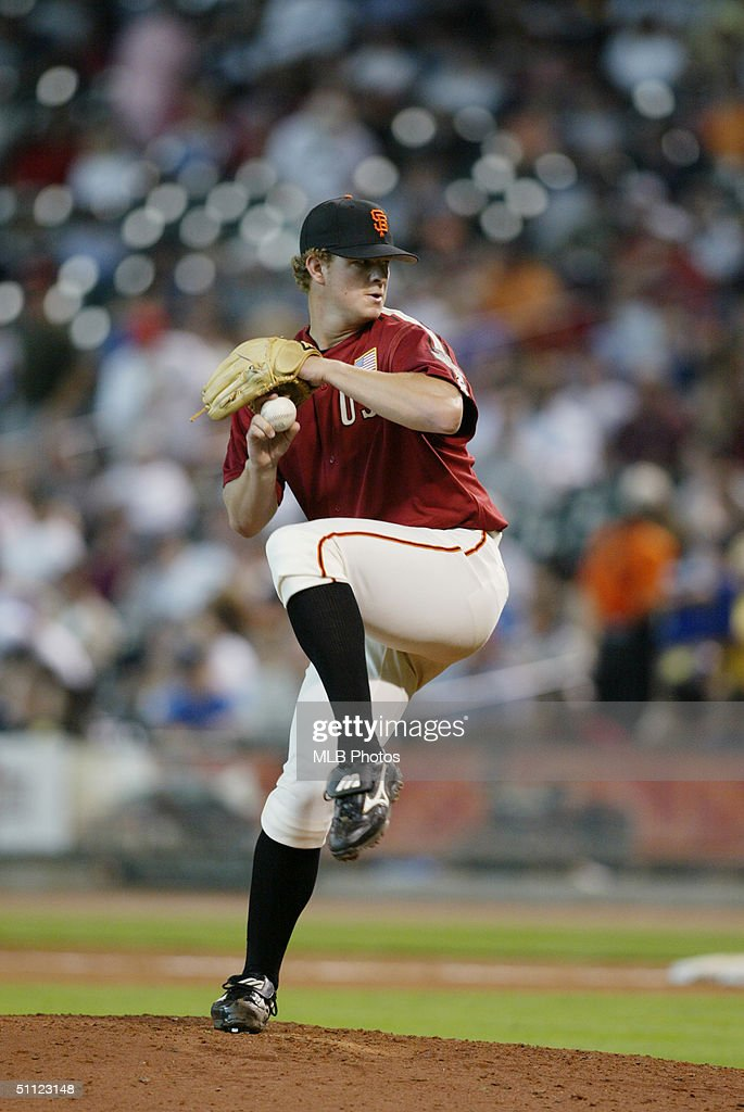 Matt Cain of the United States Team winds up for a pitch during the New York Mercantile Exchange All-Star Futures Game against the World Team at Minute Maid Park on July 11, 2004 in Houston, Texas. The United States defeated the World 4-3.