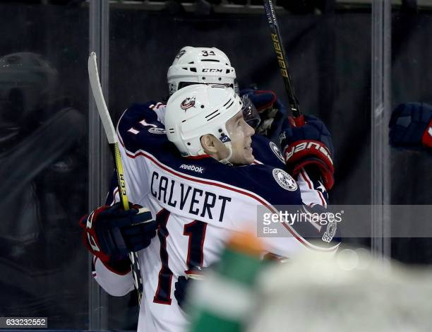 Matt Calvert of the Columbus Blue Jackets celebrates his goal with teammate Josh Anderson in the third period against the New York Rangers on January...