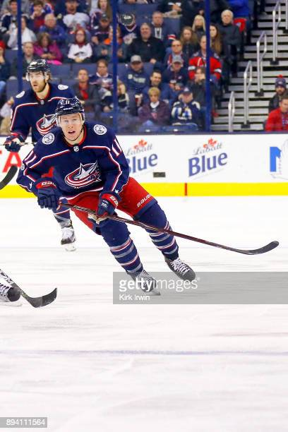 Matt Calvert of the Columbus Blue Jackets skates after the puck during teh game against the Edmonton Oilers on December 12 2017 at Nationwide Arena...