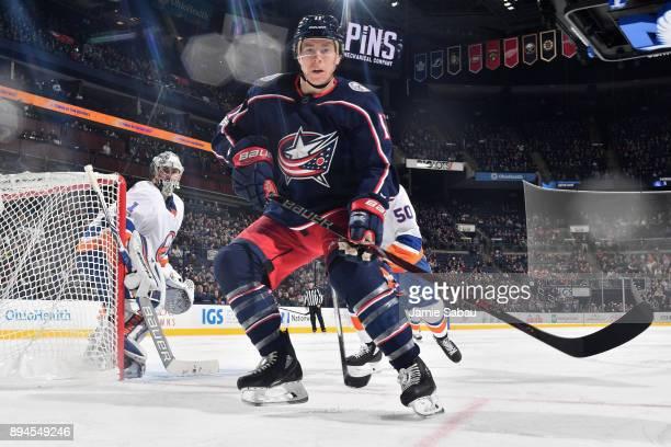 Matt Calvert of the Columbus Blue Jackets skates against the New York Islanders on December 14 2017 at Nationwide Arena in Columbus Ohio