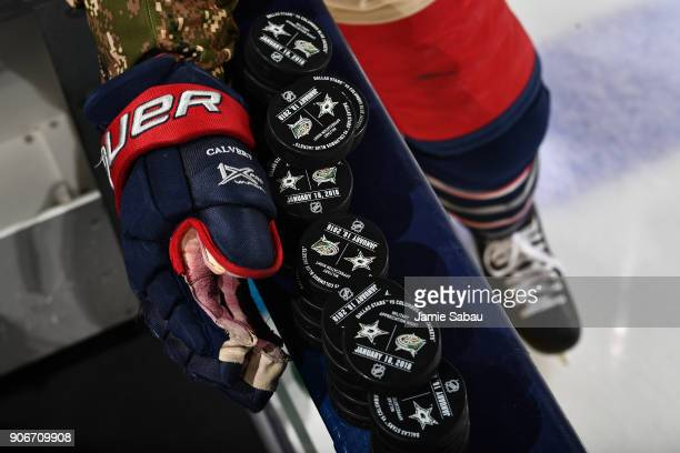 Matt Calvert of the Columbus Blue Jackets takes the ice for pregame warmups prior to a game against the Dallas Stars on Military Appreciation Night...