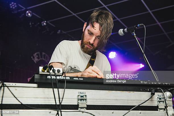 Matt Calvert of Three Trapped Tigers performs on stage at Brudenell Social Club on May 9 2016 in Leeds England