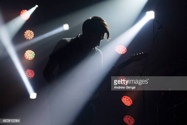 Matt Calvert of Three Trapped Tigers performs on stage at Tramlines Festival at Corporation on July 27 2014 in Sheffield United Kingdom