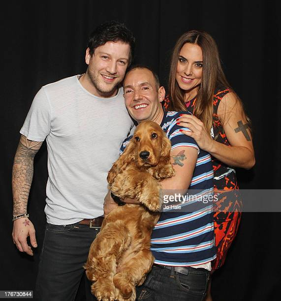 Matt Cardle Jeremy Joseph and Melanie Chisolm pose backstage at GAY on August 17 2013 in London England