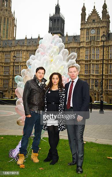 Matt Cardle Shereece and Chris Bryant MP attend a photocall to highlight the need for change in sex and relationships education in schools at the...