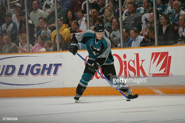 Matt Carle of the San Jose Sharks shoots the puck during Game 2 of the Western Conference Semifinals against the Edmonton Oilers on May 8, 2006 at...