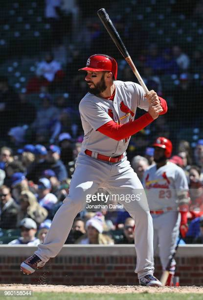 Matt Carpenter of the St Louis Cardinals bats against the Chicago Cubs at Wrigley Field on April 19 2018 in Chicago Illinois The Cubs defeated the...