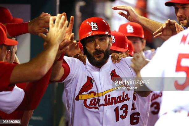 Matt Carpenter of the St Louis Cardinals celebrates after hitting a home run against the Chicago White Sox in the ninth inning at Busch Stadium on...