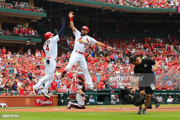 Matt Carpenter of the St Louis Cardinals celebrates after hitting a home run against the Cincinnati Reds in the first inning at Busch Stadium on July...