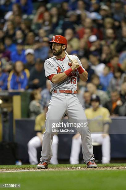Matt Carpenter of the St Louis Cardinals gets ready for the next pitch during the game against the Milwaukee Brewers at Miller Park on April 24 2015...