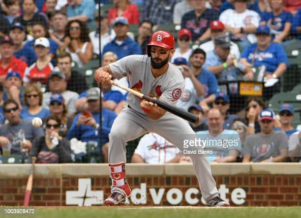 Paul DeJong of the St Louis Cardinals forces out Kris Bryant of the Chicago Cubs at second base during the fifth inning on July 22 2018 at Wrigley...
