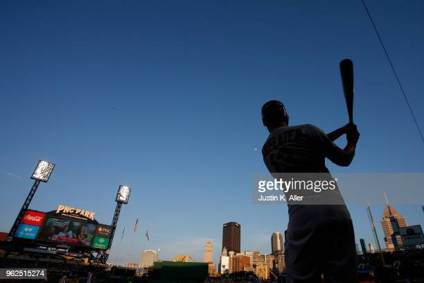 Matt Carpenter of the St Louis Cardinals on deck in the third inning against the Pittsburgh Pirates at PNC Park on May 25 2018 in Pittsburgh...