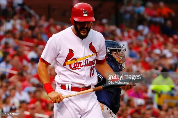 Matt Carpenter of the St Louis Cardinals reacts after striking out against the San Diego Padres in the second inning at Busch Stadium on June 11 2018...