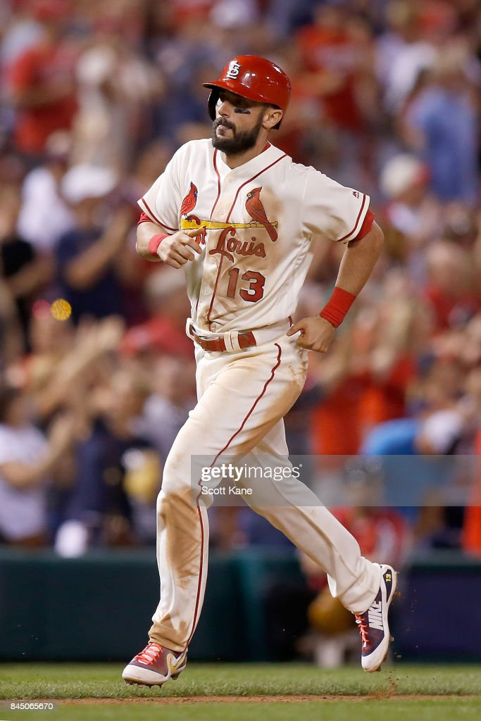 Matt Carpenter #13 of the St. Louis Cardinals runs the bases after hitting a solo home run during the seventh inning against the Pittsburgh Pirates at Busch Stadium on September 9, 2017 in St. Louis, Missouri.