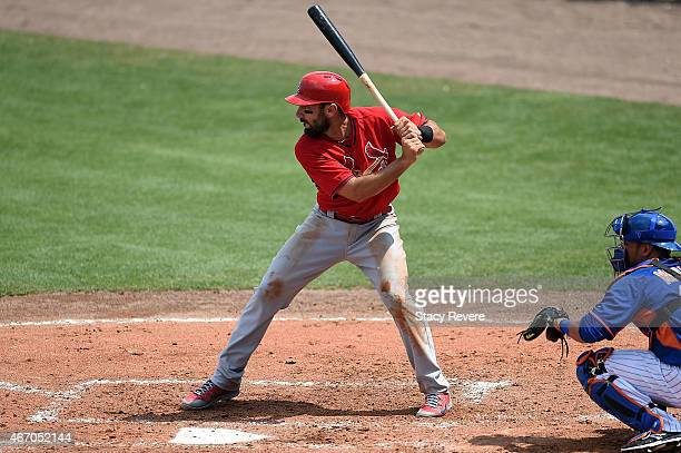 Matt Carpenter of the St Louis Cardinals waits for a pitch during the third inning of a spring training game against the New York Mets at Tradition...