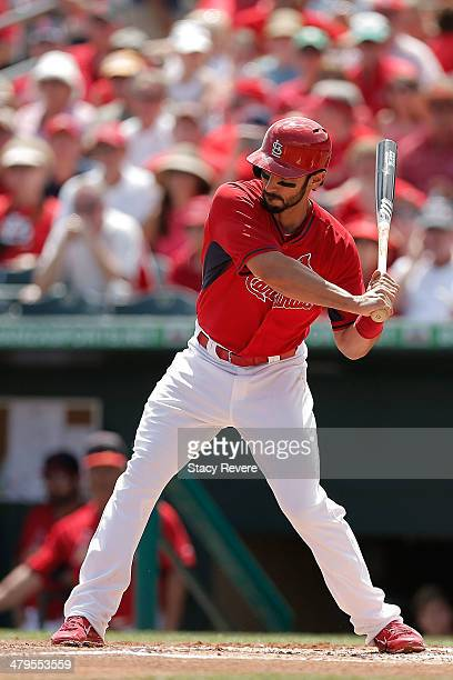 Matt Carpenter of the St Louis Cardinals waits for a pitch in the fifth inning of a game against the Minnesota Twins at Roger Dean Stadium on March...