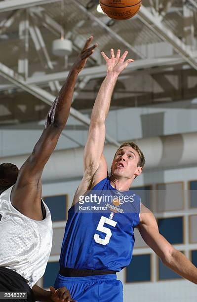 Matt Carroll of the New York Knicks puts a shot up during the Rocky Mountain Revue against the Phoenix Suns at Salt Lake Community College on July 22...