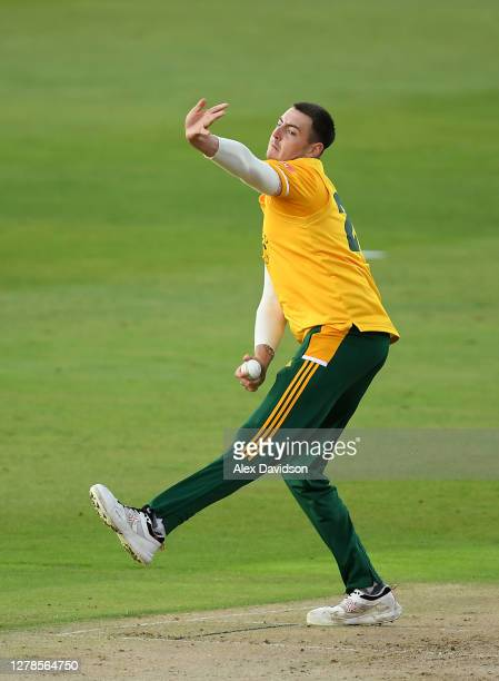 Matt Carter of Notts Outlaws bowls during the Vitality T20 Blast Semi Final between Notts Outlaws and Lancashire Lightning at Edgbaston on October 04...