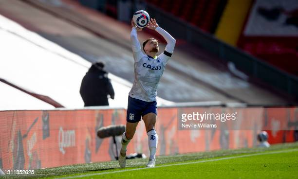 Matt Cash of Aston in action during the Premier League match between Liverpool and Aston Villa at Anfield on April 10, 2021 in Liverpool, England....