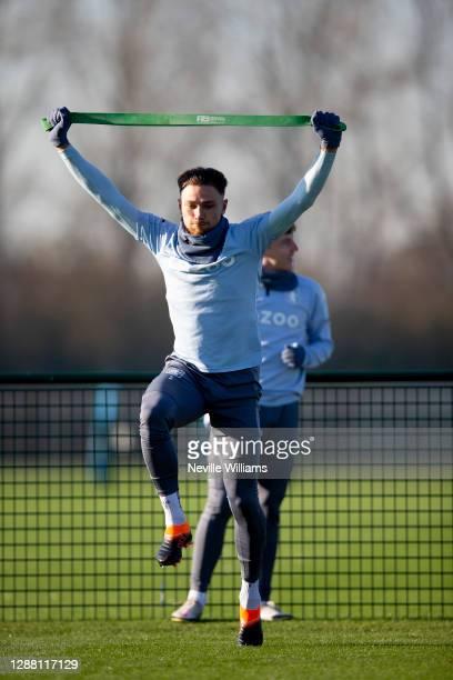 Matt Cash of Aston Villa in action during a training session at Bodymoor Heath training ground on November 26 2020 in Birmingham England
