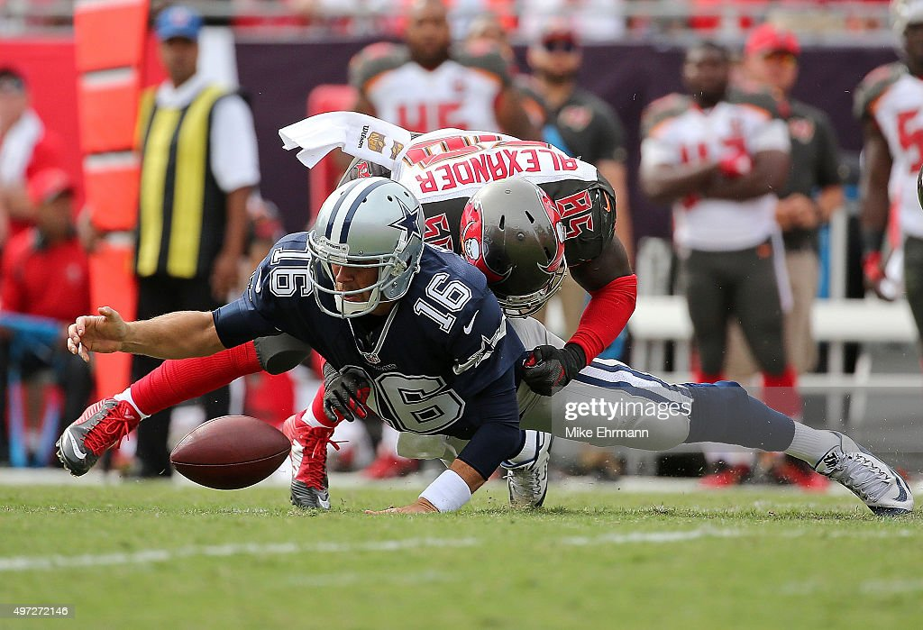 Matt Cassel #16 of the Dallas Cowboys is tackled by Kwon Alexander #58 of the Tampa Bay Buccaneers during a game at Raymond James Stadium on November 15, 2015 in Tampa, Florida.