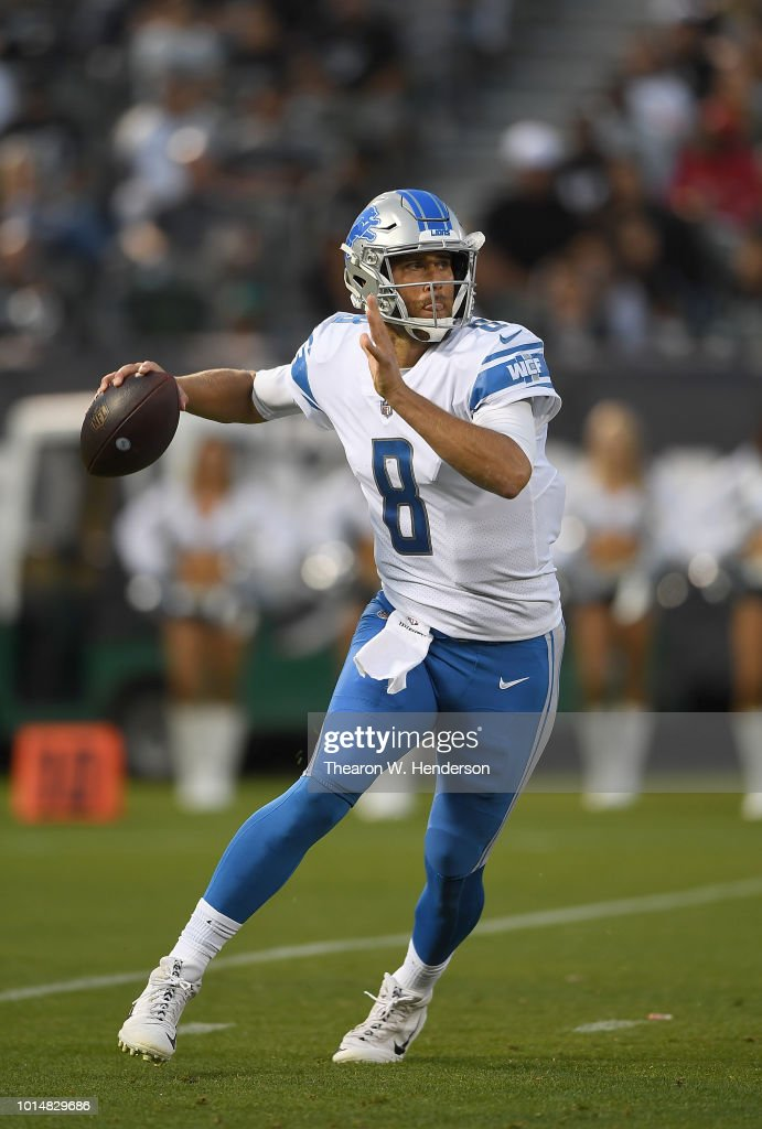 Matt Cassel #8 of the Detroit Lions looks to pass the ball against the Oakland Raiders during the first quarter of an NFL preseason football game at Oakland Alameda Coliseum on August 10, 2018 in Oakland, California.
