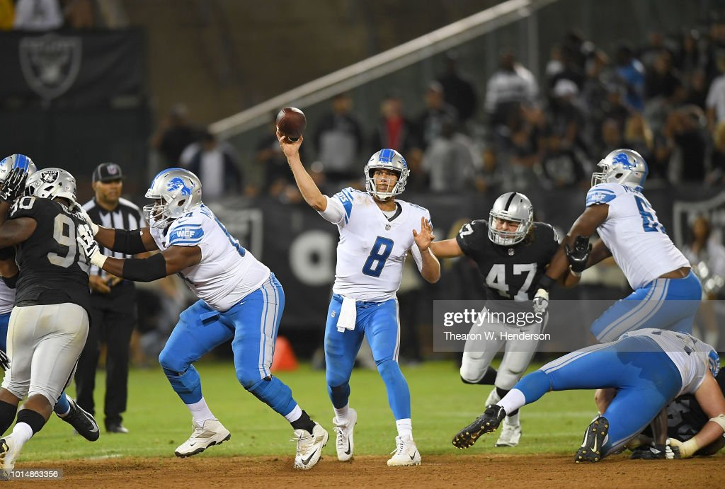 Matt Cassel #8 of the Detroit Lions throws a pass against the Oakland Raiders during the fourth quarter of an NFL preseason football game at Oakland Alameda Coliseum on August 10, 2018 in Oakland, California.