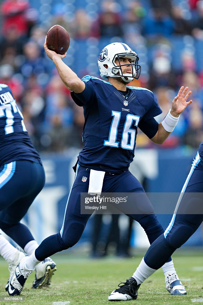 Matt Cassel #16 of the Tennessee Titans throws a pass during a game against the Houston Texans at Nissan Stadium on January 1, 2017 in Nashville, Tennessee. The Titans defeated the Texans 24-17.
