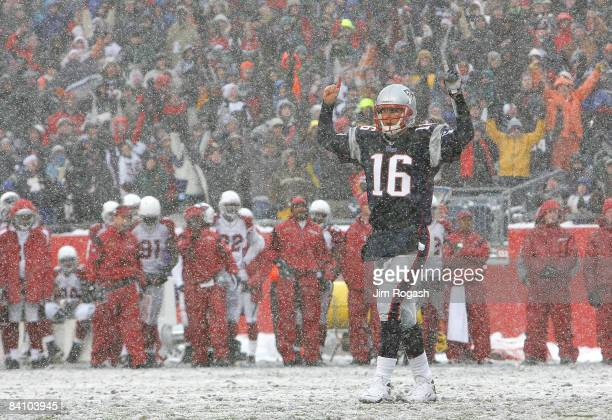 Matt Cassell of the New England Patriots reacts after a touchdown against the Arizona Cardinals at Gillette Stadium on December 21 2008 in Foxboro...