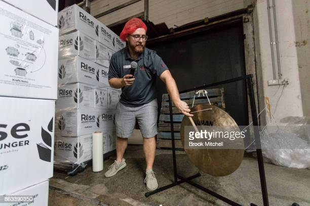 Matt Casteel International Community Engagement Manager at Rise Against Hunger at work during Zambrero's meal packing day on October 20 2017 in...