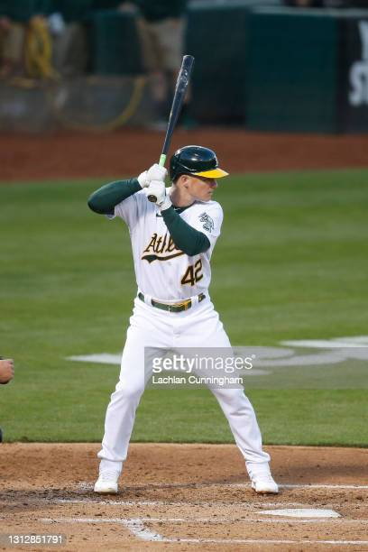 Matt Chapman of the Oakland Athletics at bat against the Detroit Tigers at RingCentral Coliseum on April 15, 2021 in Oakland, California. All players...