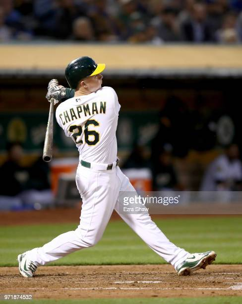 Matt Chapman of the Oakland Athletics bats against the Kansas City Royals at Oakland Alameda Coliseum on June 7 2018 in Oakland California