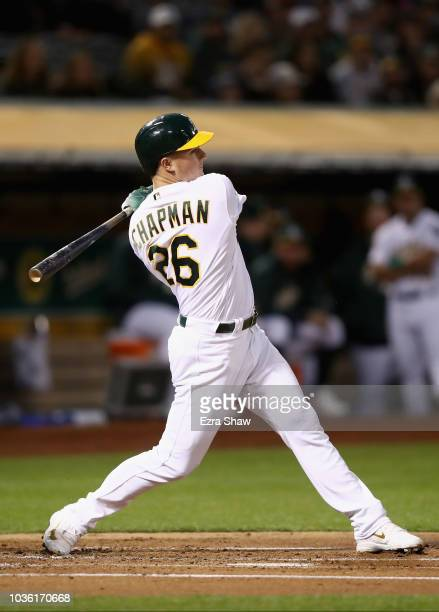 Matt Chapman of the Oakland Athletics bats against the Los Angeles Angels at Oakland Alameda Coliseum on September 18 2018 in Oakland California