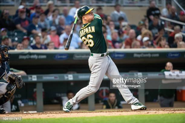 Matt Chapman of the Oakland Athletics bats against the Minnesota Twins on August 23 2018 at Target Field in Minneapolis Minnesota The Twins defeated...