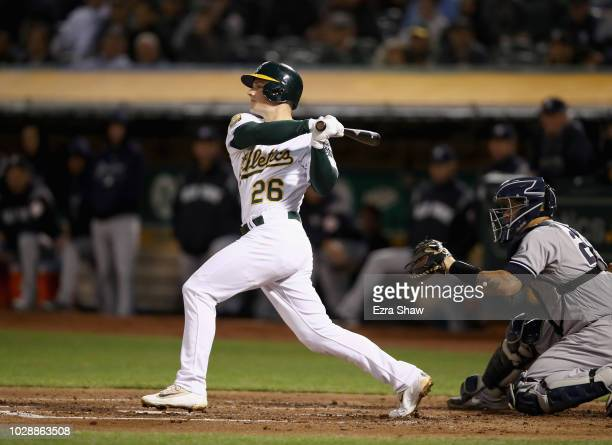 Matt Chapman of the Oakland Athletics bats against the New York Yankees at Oakland Alameda Coliseum on September 5 2018 in Oakland California