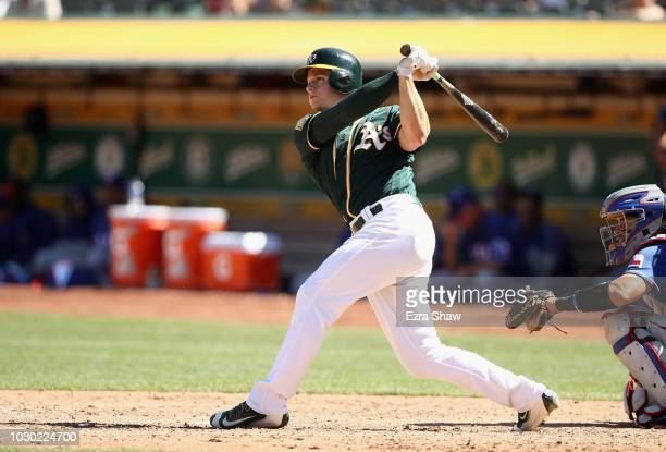 Matt Chapman of the Oakland Athletics bats against the Texas Rangers at Oakland Alameda Coliseum on September 8 2018 in Oakland California