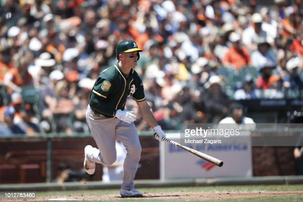 Matt Chapman of the Oakland Athletics bats during the game against the San Francisco Giants at ATT Park on July 15 2018 in San Francisco California...